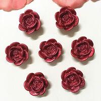 30PCS 14mm Coffee Resin Rose Flower Flatback Appliques For phone//wedding//Craft·