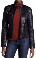 $595 Levi's Genuine Leather Quilted Sleeve Motorcycle Jacket. Size L.