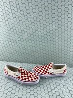 VANS Slip On Red/White Checkered Canvas Low Top Shoes Men's Size 4.5  Women's 6