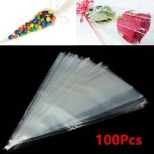 100X Transparent Triangle Candy Food Bag For Wedding Birthday Party Supply Set
