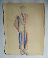 Student art - Mid Century - Watercolor - Fashion / Style - Male model