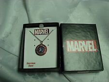 lot-JT Rhinestone MARVEL Captain America Shield Stainless Steel Pendant Necklace