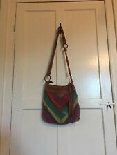 FOSSIL Patchwork Suede Leather Crossbody Womens Purse Handbag