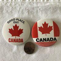 Lot of 2 Canada Maple Leaf Good Place Eh Travel Souvenir Pinback Button #37032