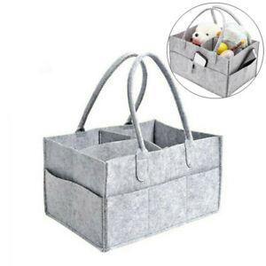 Felt Baby Diaper Caddy Nursery Storage Wipes Bag Grey Nappy Organizer Container
