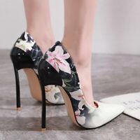 Elegant Womens Floral Pumps Stilettos High Heels Pointed Toe Party Dress Shoes
