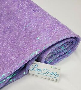 Iridescent Lilac Glitz Sequins Fabric / 3mm Sequin on Poly Mesh BTY