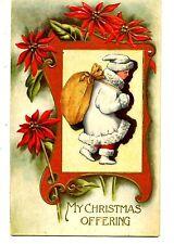 Child w/Large Sack-White Coat-Hat-Poinsettia-Christmas Holiday Greeting Postcard