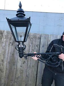 Black lantern on Large Cast iron Bracket street light wall lamp no wiring