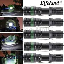 5 x Elfeland 10000LM 3-Modes T6 LED Tactical Torch Light 18650 Rechargeable Lamp