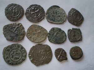 SUPERB LOT OF 12 DENARIUS BRONZE MEDIEVAL NORMAN ISLAMIC ARAB SICILY COINS.....!