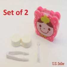 Set of 2 Pink Cute Cartoon Face Contact-Lens Case Holder w/ Mirror & Accessories