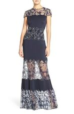 NWT! Tadashi Shoji Illusion Lace & Crepe Gown Navy Blue [SZ 14] #M235