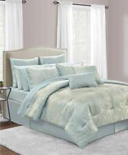 Sunham Stella Queen Comforter Set Ice Blue Silver Damask Paisley 20pc bed in bag