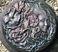 "Fairy face stepping stone plastic mold concrete plaster mould 12"" x 2"" thick"