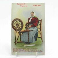 Antique printed postcard Spinning A Yarn At Solihull lady wheel fold out