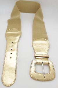 Hot Women Gold Faux Leather Fashion Wide Stretch Belt Hip High Waist Size M L XL