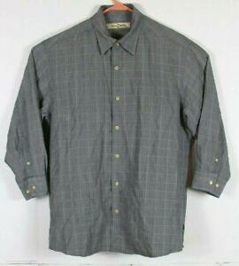 Tommy Bahama Mens Medium Silk Wool Blend 3/4 Sleeve Button Front Shirt Gray EUC