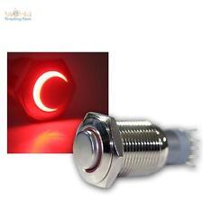 Interrupteur à pression Métal, max. 230 V/3 A, avec LED éclairage-anneau Rouge