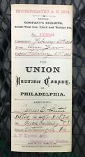 1885 The UNION Insurance Co. of Philadelphia for Jewelry Store in Catasaqua, Pa
