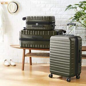 AmazonBasics Premium Robust 4 Wheeler Hardside Suitcase - 68-cm - Green