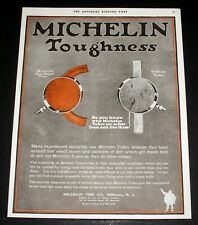 1919 OLD MAGAZINE PRINT AD, MICHELIN TIRE CO, SUPERIORITY & UNEQUALED TOUGHNESS!