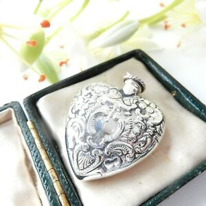 Sterling Silver Repousse Heart Scent Perfume Bottle with Dibber