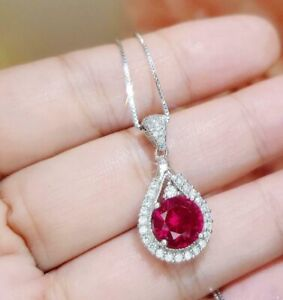 2Ct Round Cut Red Ruby & Diamond Teardrop Pendant Free Chain 14K White Gold Over
