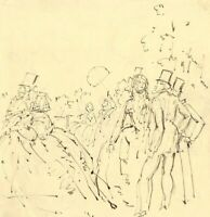 Harold Hope Read, High Life Garden Party – Early 20th-century pen & ink drawing