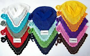 EAR NET HORSE FLY VEIL CROCHET EQUESTRIAN WITH PIPING 14 COLORS FULL/COB/ &PONY