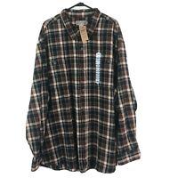 Duluth Button Down Shirt Mens 4XL Brown Plaid Long Sleeve Cotton Flannel New