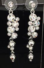 Formal Wedding Chandelier Clear Swarovski Crystal Long Earring Silver 6.5cm