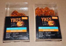 Halloween Led 10 Orange Pumpkins 4 ft Black Wire 2 Boxes Uses Aa Batteries 90I