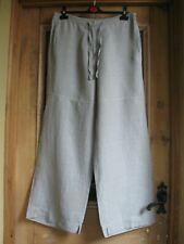 Sulu Arty Wide Leg Cropped Lagenlook dove Grey Quality Linen Trousers Vgc