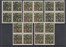 Brazil Sc C55-C59 MNH. 1944 Air Mail Surcharges cplt, Blocks of 4, VF