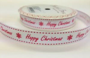 3m Bertie's Bows Happy Christmas Ribbon 16mm White Grosgrain Xmas Wrap Crafts