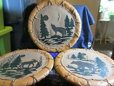 "Set of 3~Moose, Wolf, Bear~Indian Wood Looking Round Wall Plaques, 11.5"" across"