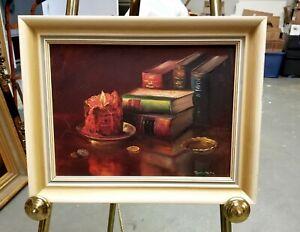 Vintage Mid Century Signed Still Life Oil on Canvas Original Frame