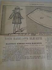 "PATRON ORIGINAL  POUPEE "" BLEUETTE ""MANTEAU KIMONO MAI   1920"