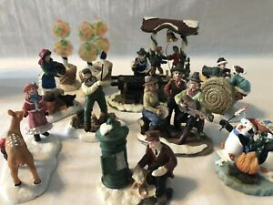 Holiday Inspirations Christmas Village Accessory Figurines - Lot Of 9