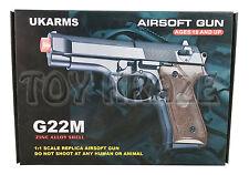 "BBGUN G22M METAL SHELL UKARMS SPRING POWER AIRSOFT PISTOL GUN 6mm BB 6"" [BLACK]"
