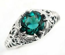 2CT London Blue Topaz 925 Solid Sterling Silver Nouveau Style Ring Sz 7, PR40