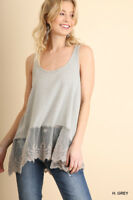 UMGEE Grey Embroidered Lace Hem Camisole Tunic Tank Top