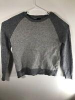 J Crew Raglan Sweater Gray Long Sleeve 100% Lambs Wool Mens Size Large EUC
