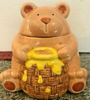 RARE Vintage Unmarked Ceramic Fat Bear & Honey Pot Ceramic Cookie Jar