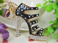 KC170 Black Big High-heeled Shoes Keyring Rhinestone Crystal Pendant Key Chain