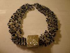 E&L Israel Hammered Silver Cube Necklace w/ 4 Strands of Black & Clear Stones