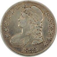 1832 50C CAPPED BUST HALF DOLLAR VF+ DETAILS CLEANED/ AMAZING DIE BREAK 11112032