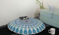 """New Indian Peacock Mandala Floor Pillow Home Decor Round Cushion Cover 32"""" Inch"""