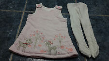 Baby girl pink sleeveless dress & white tights set size 0-3 mths by TU